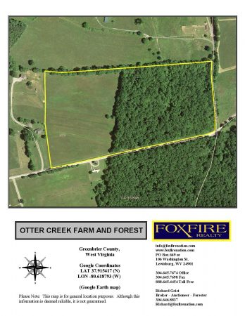 Otter Creek Farm and Forest Google Earth map (Foxfire)