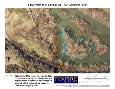 Little Wolf Creek Landing on the Greenbrier River Aerial with island